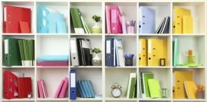 organized shelves, cubbies, office